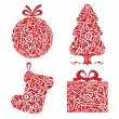 Stock Vector: Red Christmas ornamental symbols
