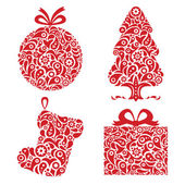 Red Christmas ornamental symbols — Stock Vector