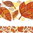 Horizontal seamless background with autumn leaves — Stock Vector
