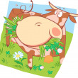 Stock Vector: Spotted cow on meadow