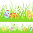 Stock Vector: Horizontal seamless Easter background