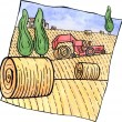 Scenery with hay bales and a tractor — Stock Photo