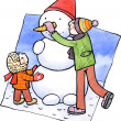 Stock Photo: Son and father making snowman