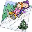 Two children sledging on a hill — Stock Photo