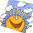 Stock Photo: Smiling sun juggling clouds