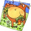 Stock Photo: Brown cow on meadow