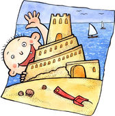 Cute child and sand castle — Stock Photo