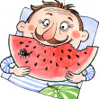 Stock Photo: Cartoon meating watermelon