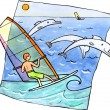 Stock Photo: Windsurfing with dolphins