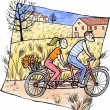 Stock Photo: Couple riding tandem