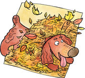 Dog playing in a heap of leaves — Stock Photo