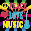 Stock Photo: Peace, love, music