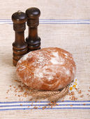 Traditional bread with salt and pepper shaker — Stock Photo