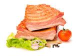 Costillas de cerdo cruda cortan por la mitad — Foto de Stock