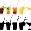 Royalty-Free Stock Photo: Various alcoholic cocktails and their rtansparency mask