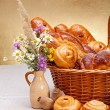 Sweet bakery products in basket — Photo