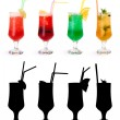 Various non-alcoholic cocktails and their rtansparency mask — Stock Photo