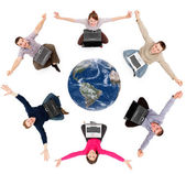 Happy social network members around the globe — Stock Photo