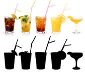 Various alcoholic cocktails and their rtansparency mask — Stok fotoğraf