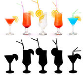 Various alcoholic cocktails and their rtansparency mask — Stock Photo