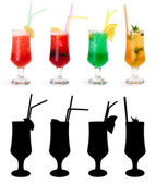 Various non-alcoholic cocktails and their rtansparency mask — ストック写真