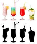 Various non-alcoholic cocktails and their rtansparency mask — Zdjęcie stockowe