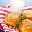 Three cinnamon rolls and jug of milk on red plate — Stock Photo #19357469