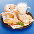 Various cakes and milk breakfast — Stok Fotoğraf #19357531