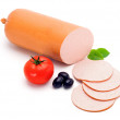 Simple bologna sausage and slices — Stock Photo