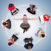 Social network members around one successful man — Stock Photo