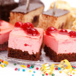 Closeup view of various creamy cakes - Stock Photo