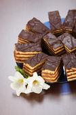 いくつかのチョコレート ケーキのクローズ アップ ビュー — ストック写真