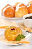 Macro of sweet cake breakfast — Stock Photo