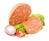 Filled meat speciality and slice — Stock Photo