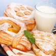 Various cakes and milk breakfast — Stock Photo #19518729