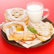 Stock Photo: Various cakes and milk breakfast