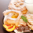Various cakes and milk breakfast — Stock Photo #19518823
