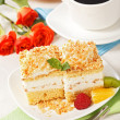 Top view of whipped cream cake garnished with fruit pieces — Stock Photo