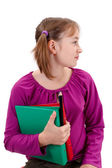 Teenager pigtailed girl with maps and pencils — Stockfoto