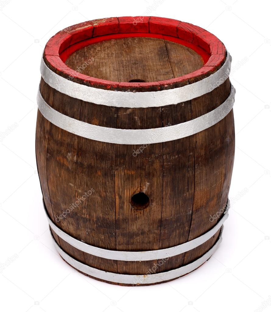 Old handmade oak barrel on white background  Stock Photo #19664711