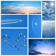 Blue collage of sky-related images — Stock Photo