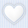 Decorated blue-gray heart label illustration — Stock Vector