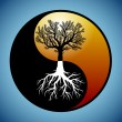 ストックベクタ: Tree and it's roots in yin yang symbol