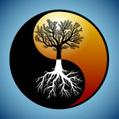 Tree and it's roots in yin yang symbol — Stockvektor