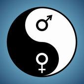 Yin Yang Man and Woman — Stock Vector