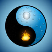 Yin Yang symbol with water and fire — Stock Vector