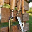 Garden tools on board fence — Stock Photo