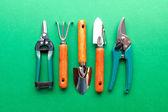 Gardening utensils on green background — Stock Photo