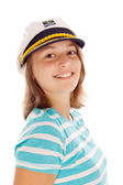 Teen girl in captain's hat — Stock Photo