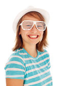 Cute teen girl in special sunglasses — Stock Photo